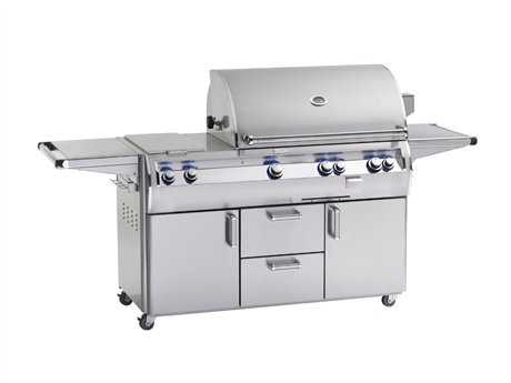 Fire Magic Echelon Diamond Stainless Steel 30'' On Cart Analog Patio BBQ Grill with Double Side Burner PatioLiving