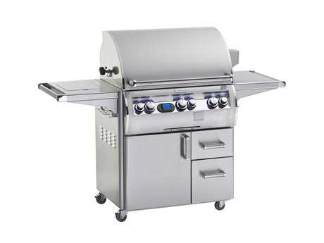 Fire Magic Echelon Diamond Stainless Steel 30'' On Cart Digital Patio BBQ Grill with Single Side Burner PatioLiving