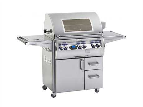 Fire Magic Echelon Diamond Stainless Steel 30'' On Cart Digital Magic View Patio BBQ Grill with Single Side Burner PatioLiving