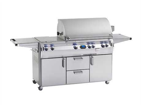 Fire Magic Echelon Diamond Stainless Steel 36'' On Cart Analog Patio BBQ Grill with Double Side Burner