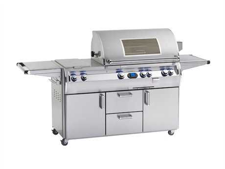 Fire Magic Echelon Diamond Stainless Steel 30'' On Cart Digital Magic View Patio BBQ Grill with Double Side Burner PatioLiving