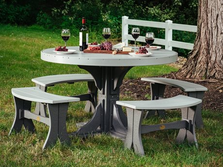 LuxCraft Poly 4' Round Table Dining Set