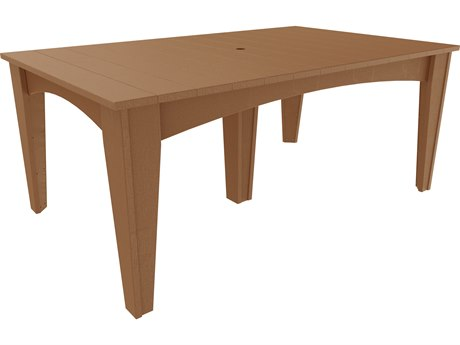 LuxCraft Recycled Plastic 72 x 44 Rectangular Island Dining Table with Umbrella Hole