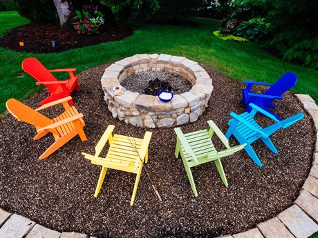 LuxCraft Recycled Plastic Lakeside Fire Pit Lounge Set