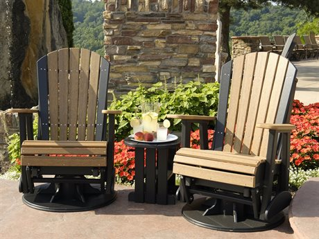 LuxCraft Swivel Adirondack Poly Glider Lounge Set