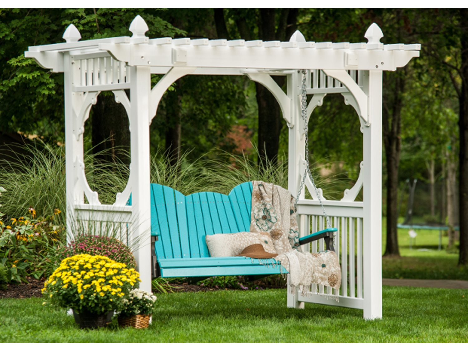 Luxcraft recycled plastic classic vinyl swing stand for White porch swing with stand