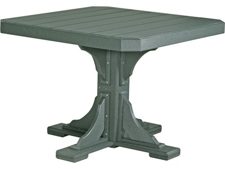 LuxCraft Recycled Plastic 41 Square Dining Height Table with Umbrella Hole