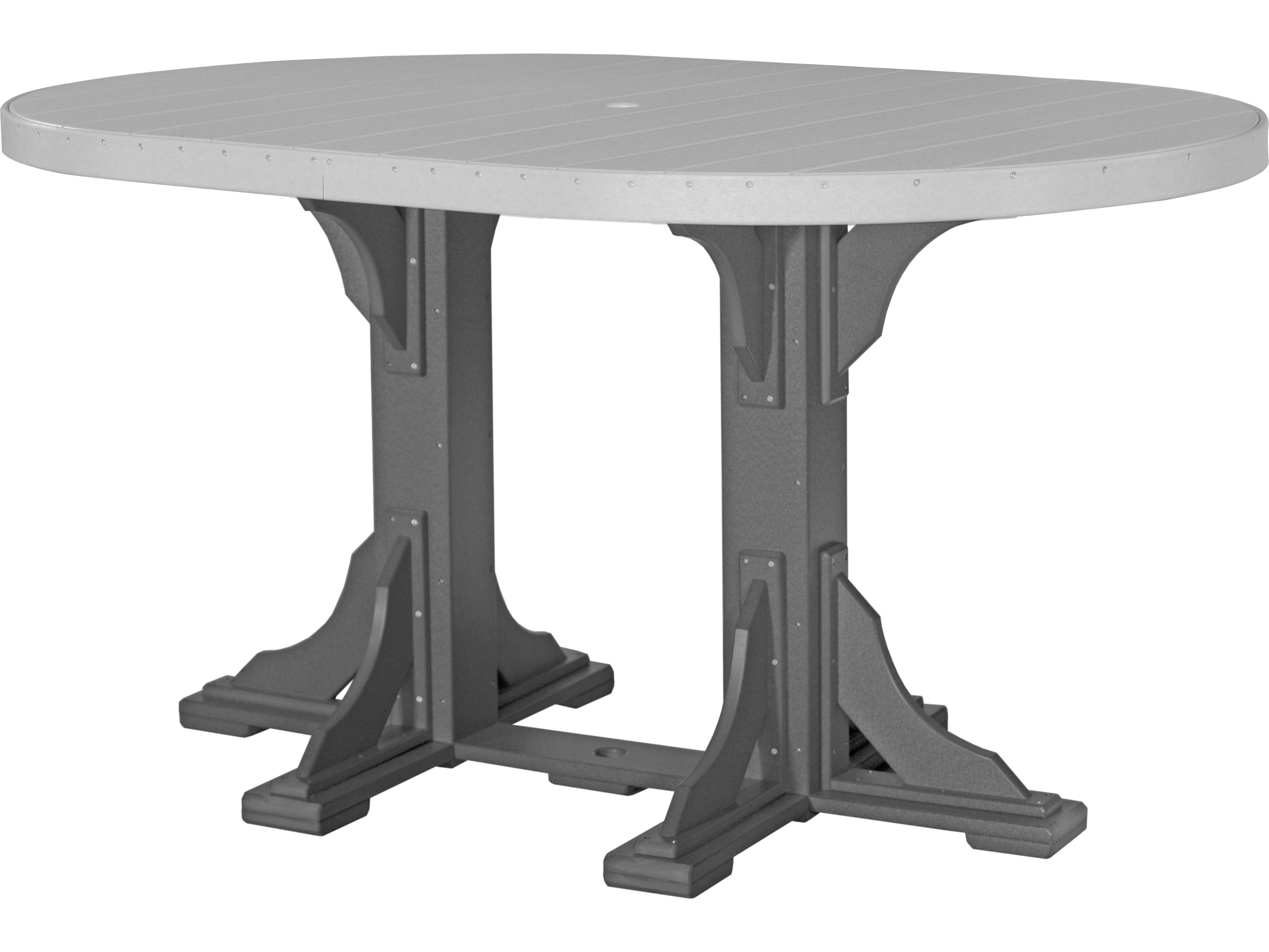 Luxcraft Recycled Plastic 72 X 48 Oval Bar Height Table With Umbrella Hole P46ot Bar