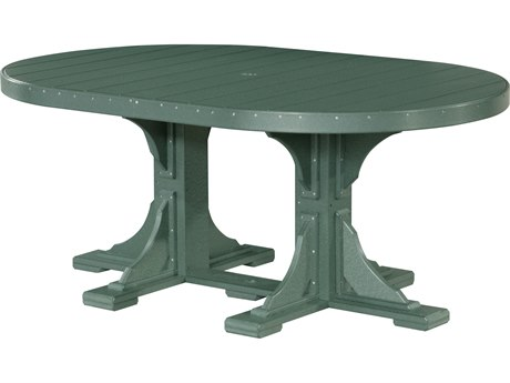 LuxCraft Recycled Plastic 72 x 48 Oval Dining Height Table with Umbrella Hole