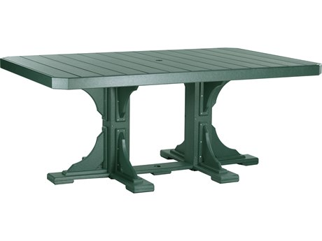 LuxCraft Recycled Plastic 74 x 48 Rectangular Dining Height Table with Umbrella Hole