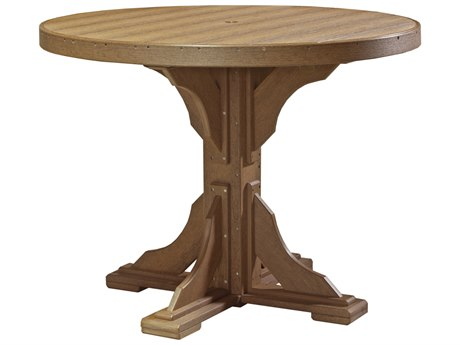 LuxCraft Recycled Plastic 48 Round Counter Height Table with Umbrella Hole