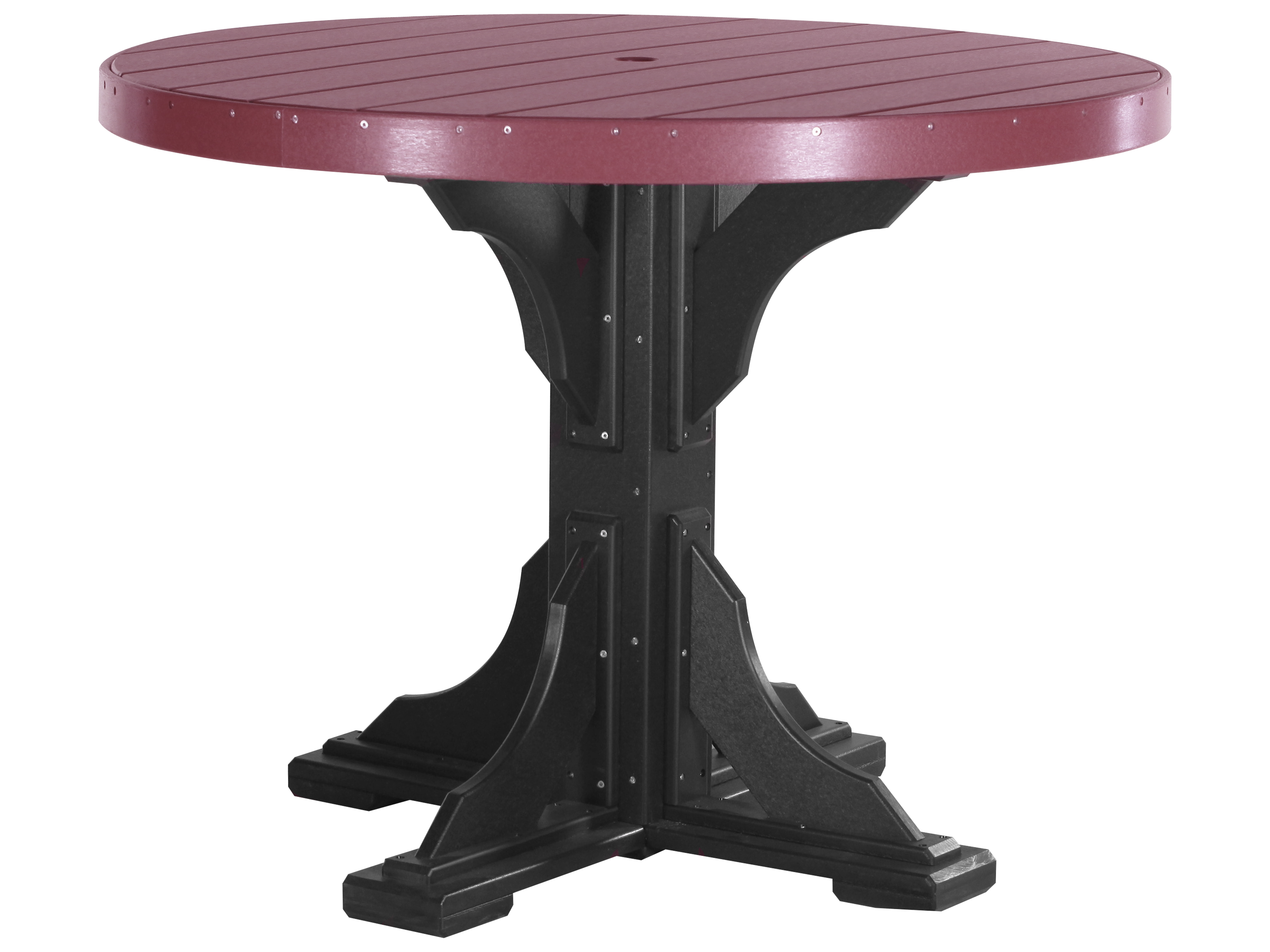 Luxcraft recycled plastic 48 round counter height table - Picnic table with umbrella hole ...