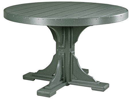 LuxCraft Recycled Plastic 48 Round Dining Height Table with Umbrella Hole