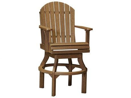 LuxCraft Recycled Plastic Adirondack Swivel Bar Height Chair