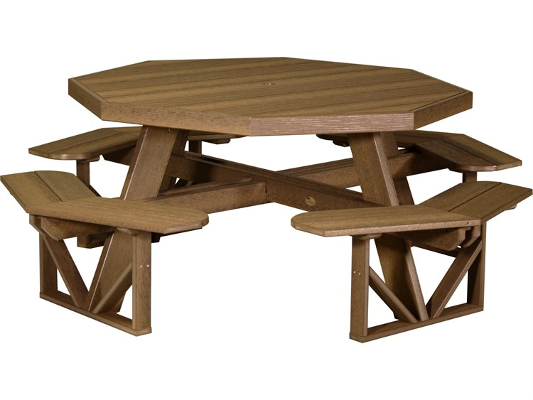 LuxCraft Recycled Plastic 86.5 Octagon Picnic Table with Umbrella Hole