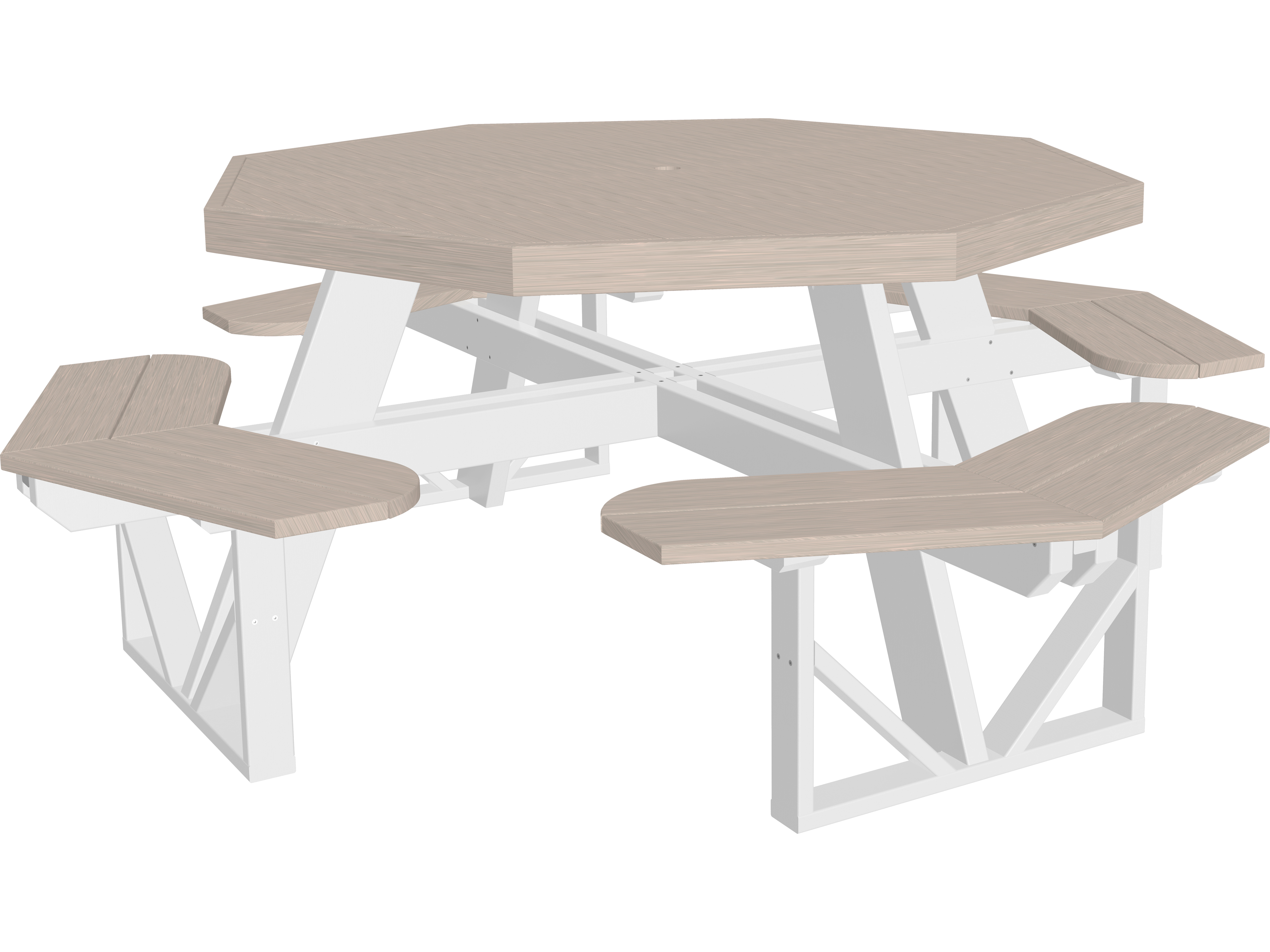 Luxcraft recycled plastic 86 5 octagon picnic table with - Picnic table with umbrella hole ...