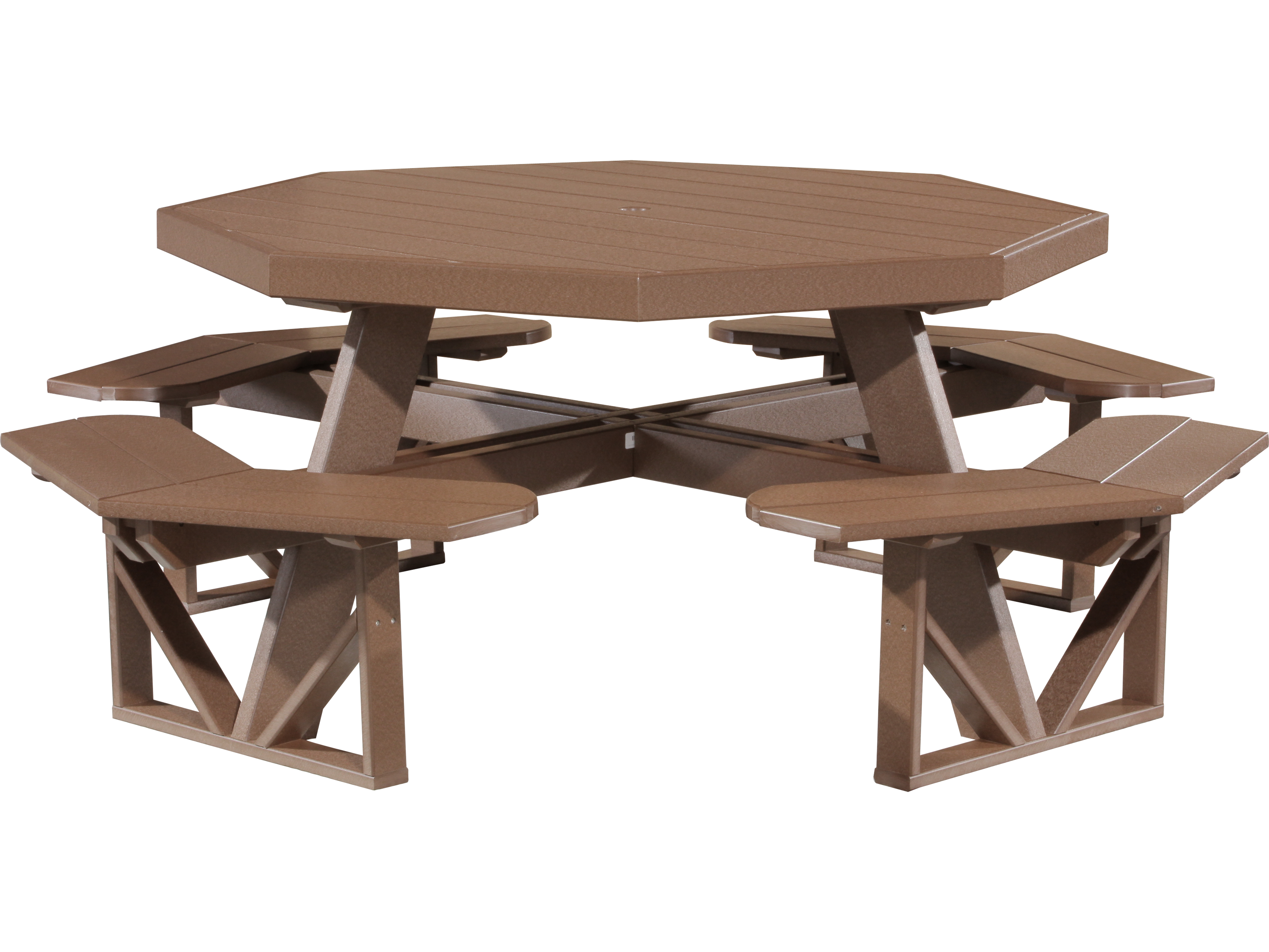 luxcraft recycled plastic 86 5 octagon picnic table with umbrella hole popt dining. Black Bedroom Furniture Sets. Home Design Ideas