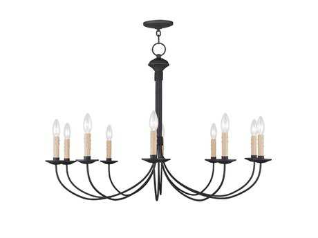 Livex Lighting Heritage Black Ten-Light 38'' Wide Chandelier