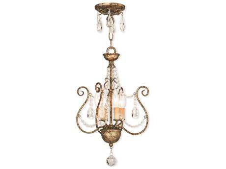 Livex Lighting Isabella European Bronze Four-Light 12.5'' Wide Convertible Mini Chandelier / Ceiling Mount