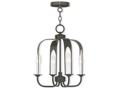 Livex Lighting Addison English Bronze Four-Light 14'' Wide Convertible Mini Chandelier / Ceiling Mount