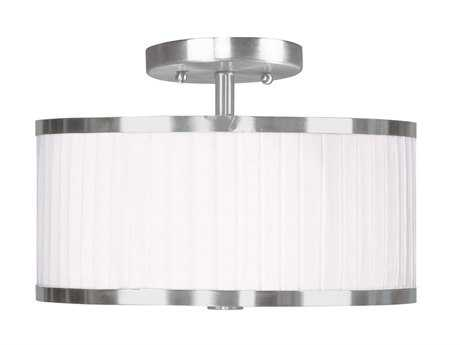 Livex Lighting Park Ridge Brushed Nickel Two-Light 11'' Wide Semi-Flush Mount Light