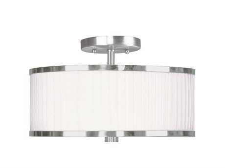 Livex Lighting Park Ridge Brushed Nickel Two-Light 13'' Wide Semi-Flush Mount Light