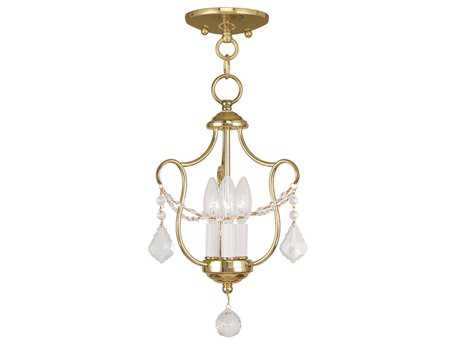 Livex Lighting Chesterfield Polished Brass Three-Light 10'' Wide Chandelier