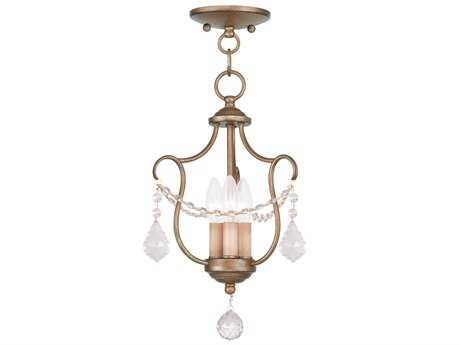 Livex Lighting Chesterfield Antique Gold Three-Light 10'' Wide Mini Chandelier
