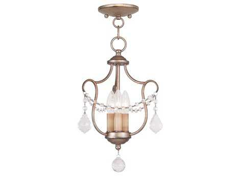 Livex Lighting Chesterfield Antique Silver Three-Light 10'' Wide Chandelier