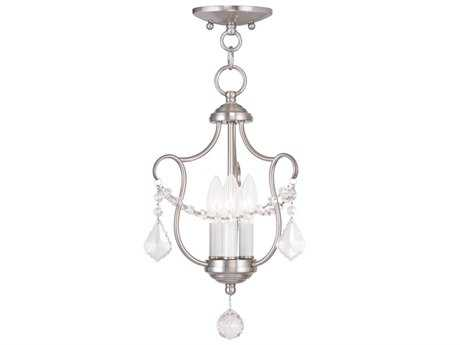 Livex Lighting Chesterfield Brushed Nickel Three-Light 10'' Wide Mini Chandelier