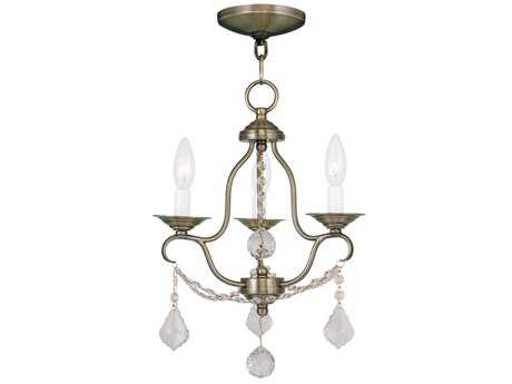 Livex Lighting Chesterfield Antique Brass Three-Light 12'' Wide Chandelier