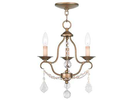 Livex Lighting Chesterfield Antique Gold Three-Light 12'' Wide Chandelier