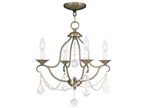 Livex Lighting Chesterfield Antique Brass Four-Light 18'' Wide Chandelier