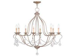 Livex Lighting Chesterfield Antique Silver Eight-Light 32'' Wide Chandelier