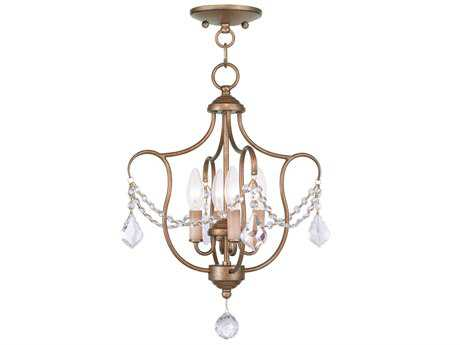 Livex Lighting Chesterfield Antique Gold Four-Light 14'' Wide Mini Chandelier