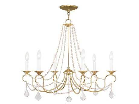 Livex Lighting Pennington Polished Brass Six-Light 28'' Wide Chandelier
