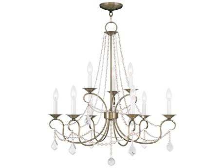 Livex Lighting Pennington Antique Brass Nine-Light 28'' Wide Chandelier