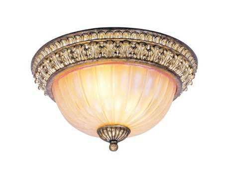 Livex Lighting La Bella Vintage Gold Two-Light 13'' Wide Flush Mount Light