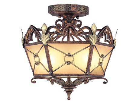 Livex Lighting Bristol Manor Palacial Bronze Two-Light 14.25''Wide  Semi-Flush Mount Light