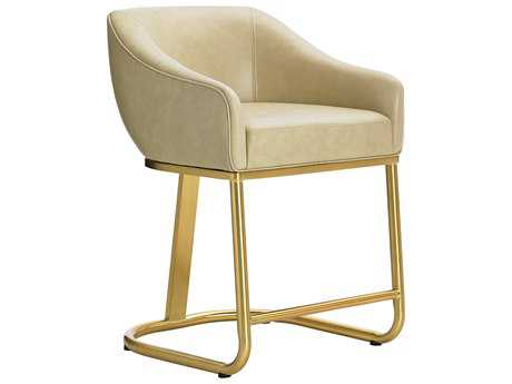 Lexington Take Five Astoria Astoria Ivory Leather with Brass Plated Stainless Steel Counter Stool