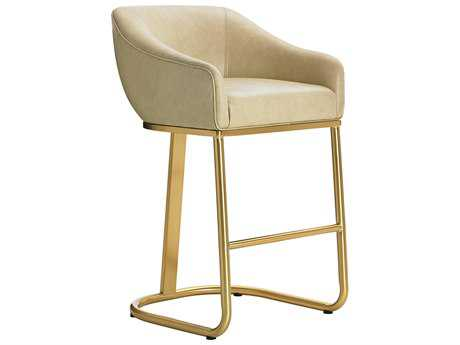 Lexington Take Five Astoria Astoria Ivory Leather with Brass Plated Stainless Steel Bar Stool