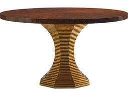Lexington Take Five Regency Rosewood with Burnished Gold Leaf 54'' Wide Round Dining Table
