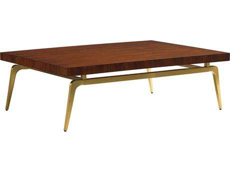 Lexington Take Five Bryant Park Rosewood with Brass Plated Stainless Steel 56''L x 40''W Rectangular Cocktail Table