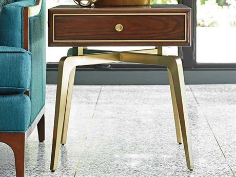 Lexington Take Five Allegro Rosewood with Brass Plated Stainless Steel 21''L x 27''W Rectangular End Table