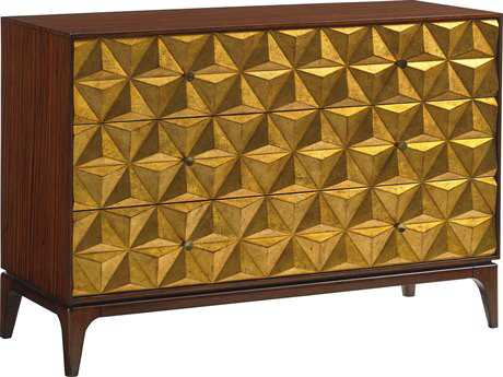 Lexington Take Five Broadway Hall Zebrano with Burnished Gold Leaf 50''L x 19''W Rectangular Accent Chest