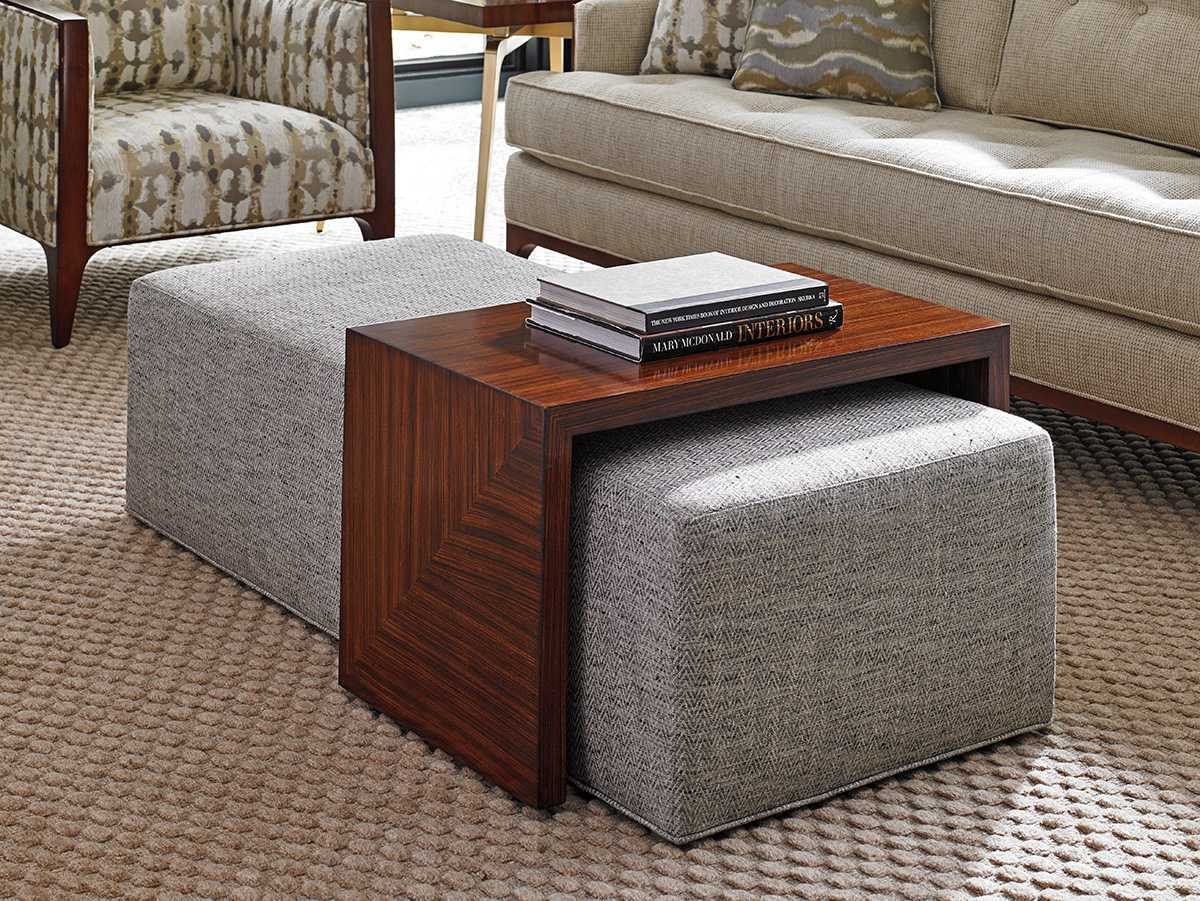 Lexington Take Five Broadway Cocktail Fabric Ottoman With