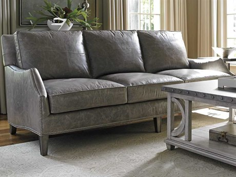 Lexington Oyster Bay Ashton Leather Misty Gray Loose Back Sofa