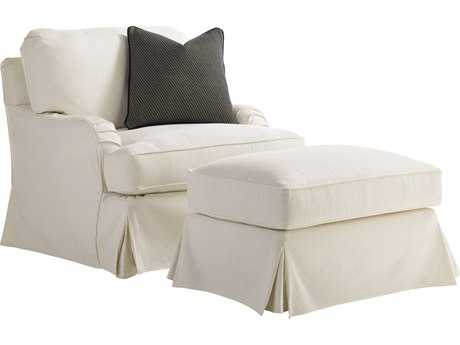 Lexington Coventry Hills Stowe Slipcover Cream Swivel Loose Back Club Chair