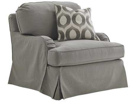 Lexington Oyster Bay Stowe Gray Slipcover Loose Back Swivel Club Chair