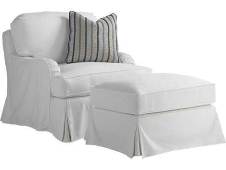 Lexington Coventry Hills Stowe Slipcover White Loose Back Swivel Accent Chair